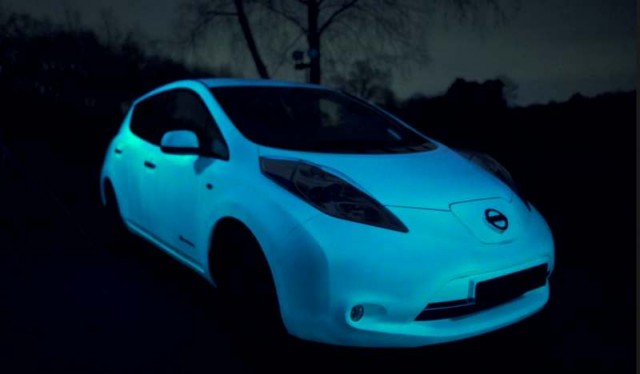 The glow-in-the-dark Nissan Leaf