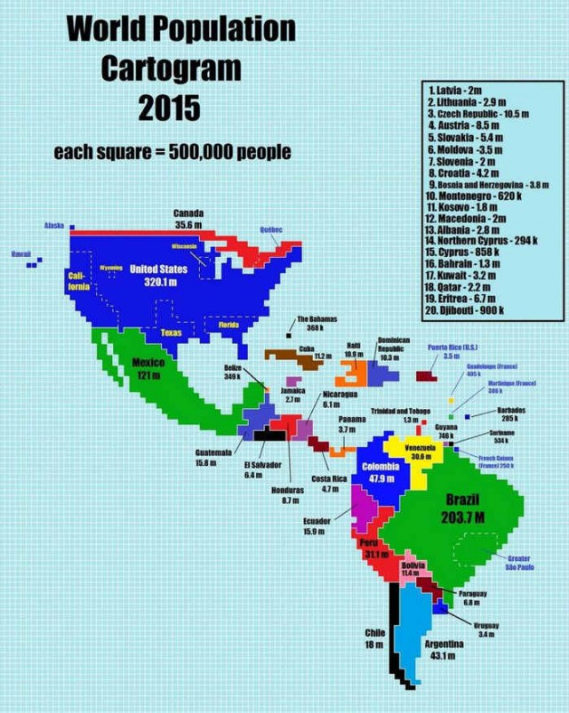 Countries scaled by Population (2)