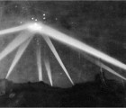 Searchlights focus on an unidentified object over Los Angeles