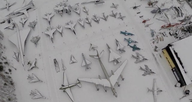 Drone video of Moscow Plane Museum