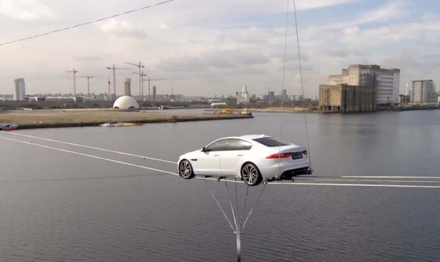Jaguar XF performs high-wire water crossing of Thames