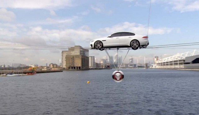 Jaguar XF performs high-wire water crossing of Thames 2