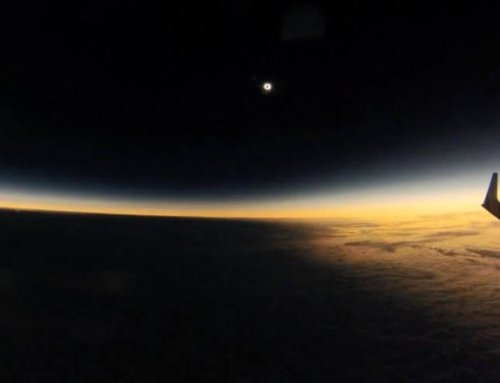 Moon shadow during Solar Eclipse from an airplane