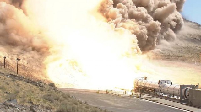 Fire up of Deep Space Rocket Booster