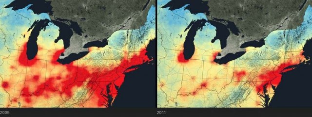 Air pollution reduction, northeastern United States