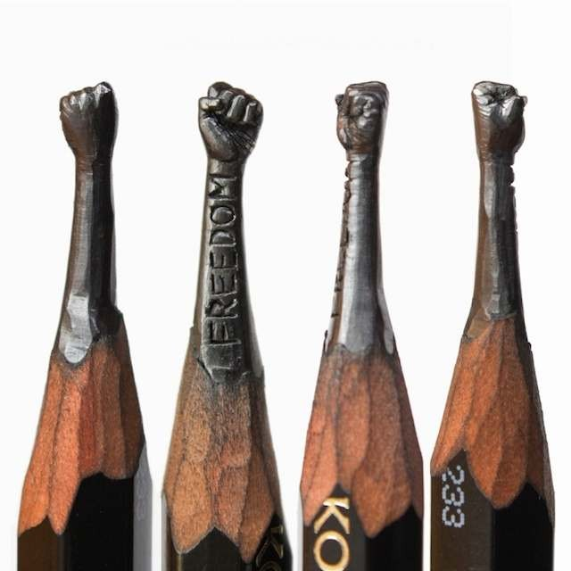 Tiny sculptures on the top of Graphite pencils (8)