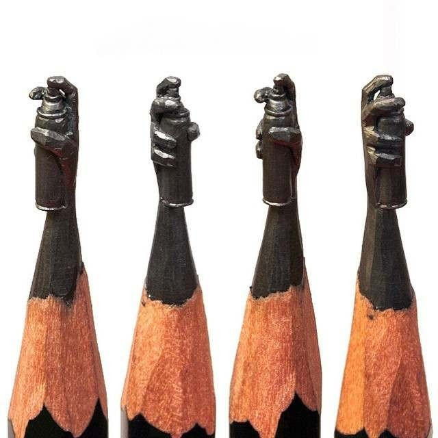 Tiny sculptures on the top of Graphite pencils