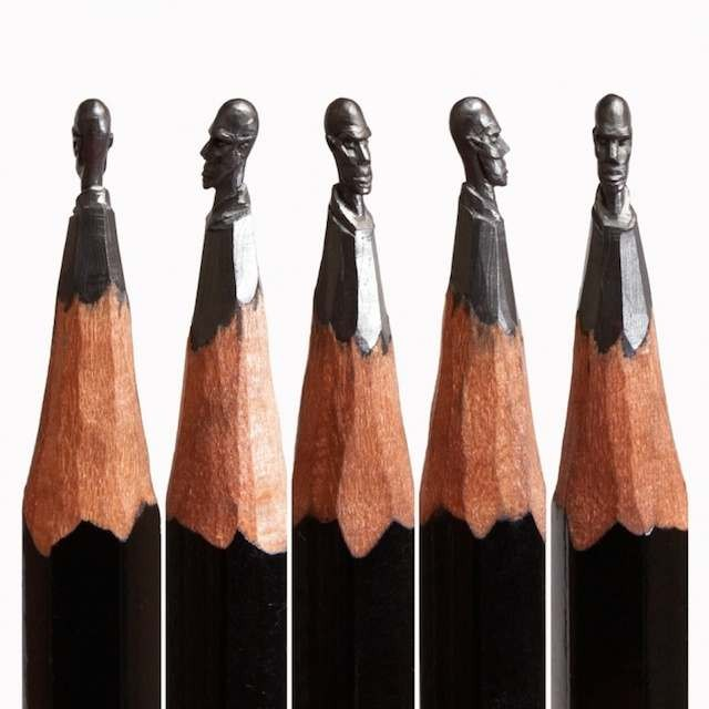 Tiny sculptures on the top of Graphite pencils (4)