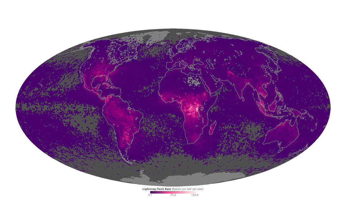 Global Lightning Activity map