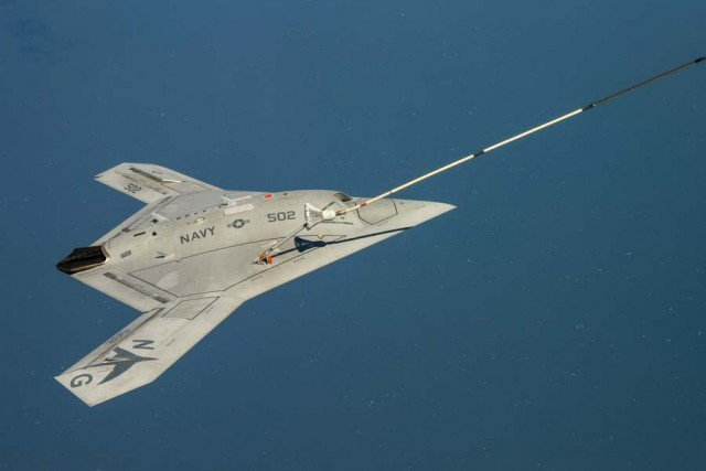 The unmanned X-47B air refueling from a tanker (2)