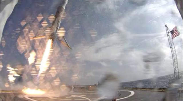 Falcon 9 hit target, but tipped over