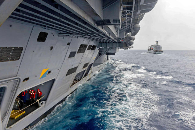 The side of the USS John C. Stennis (CVN 74)