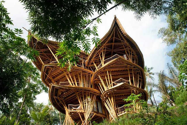 Bamboo houses in Indonesia
