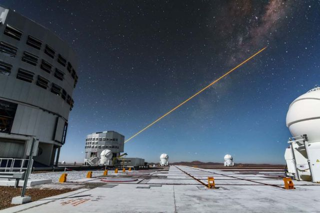 Laser guide star units on Unit Telescope 4