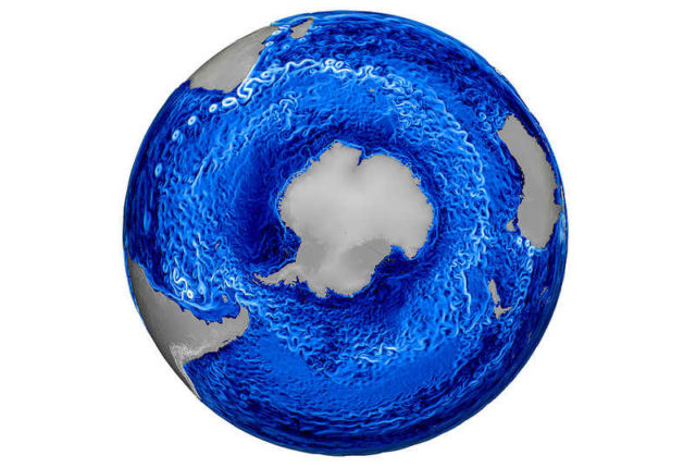 Antarctica's Ocean currents from the Lab's MPAS-Ocean Model