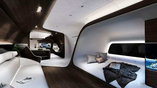VIP aircraft cabin by Mercedes and Lufthansa
