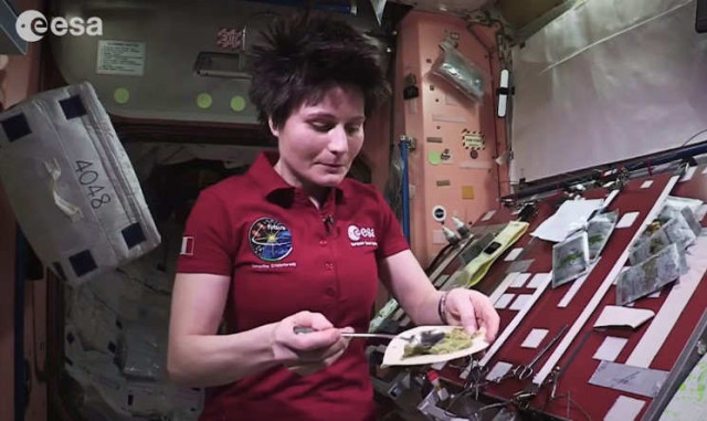 ESA astronaut Samantha Cristoforetti is cooking