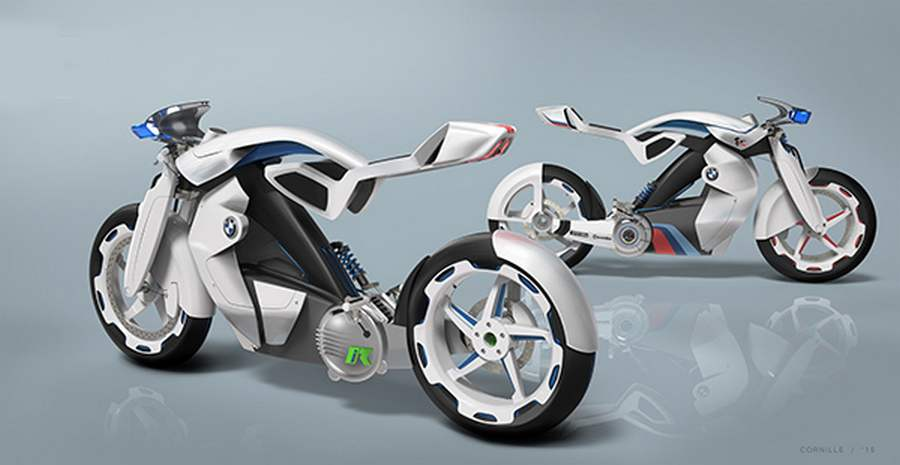 wordlessTech | Electric BMW iR motorcycle concept