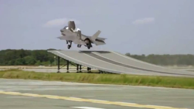 First F-35B fly from a ski jump launch