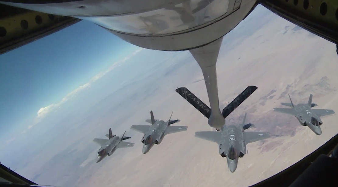 Five F-35 and an A KC-135 Stratotanker