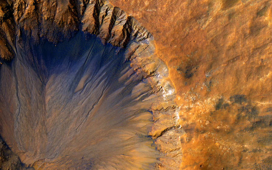 Impact crater in the Sirenum Fossae region of Mars