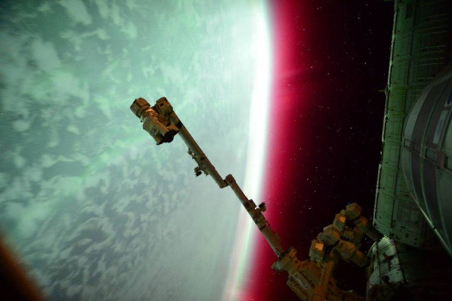 Lights of a red Aurora from space