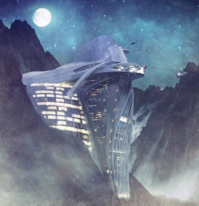 Semiotic Alpine Escape futuristic Hotel