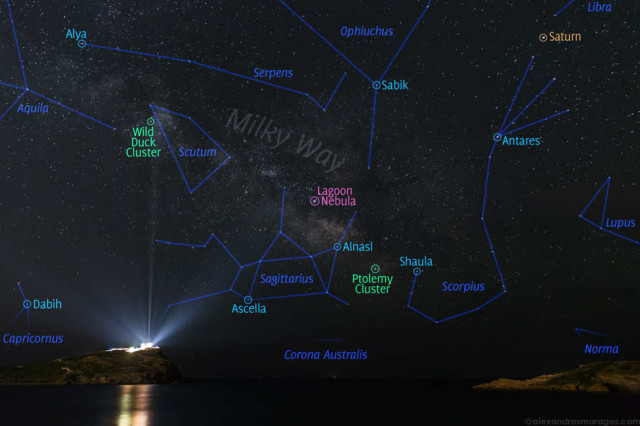 Milky Way over the Temple of Poseidon star map
