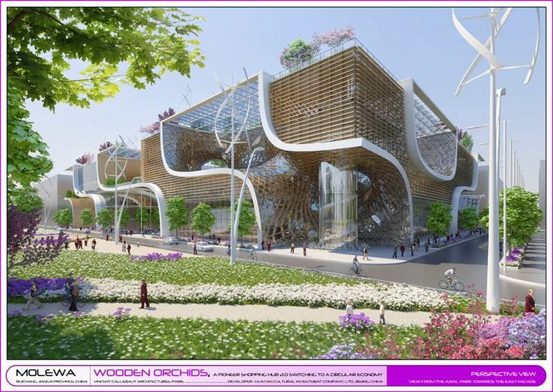 Wordlesstech wooden orchids eco responsible shopping mall for Architecture organique