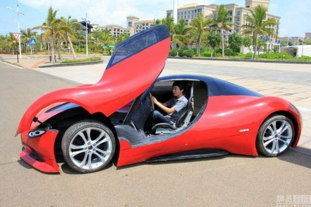 27-year-old Chinese builds futuristic sportscar 2