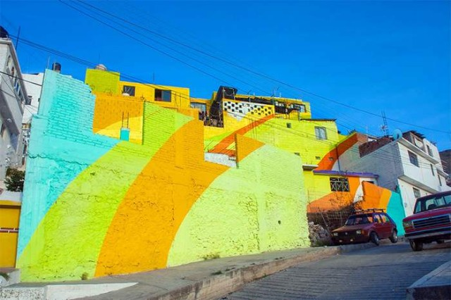 A community at the village of Palmitas decorated by colorful rainbow mural (2)
