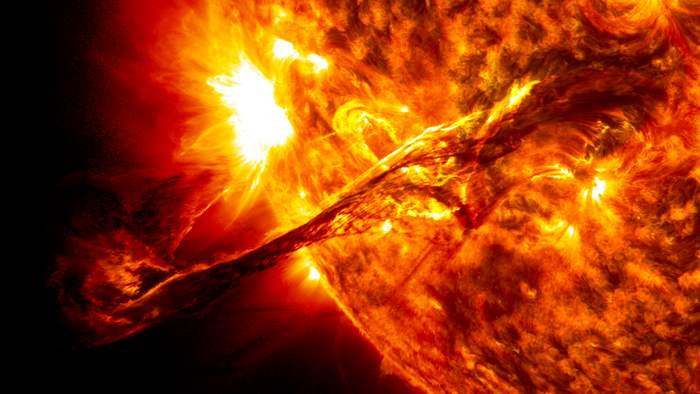 A solar prominence erupts in August 2012