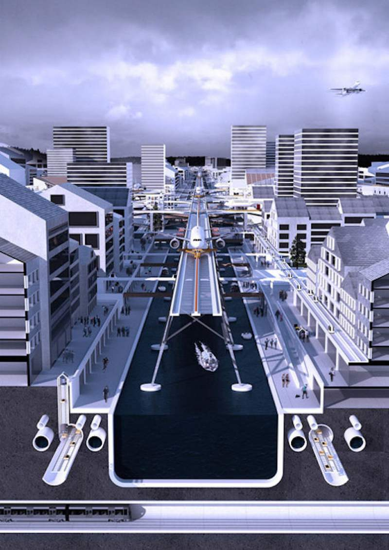Airport Runways Above The Streets Concept Wordlesstech