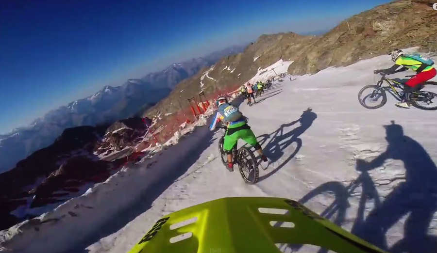 Downhill bike race on a Glacier
