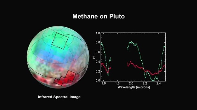 Map showing distribution of methane on Pluto