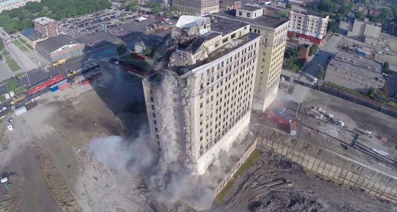 Drone captures the demolition of a building