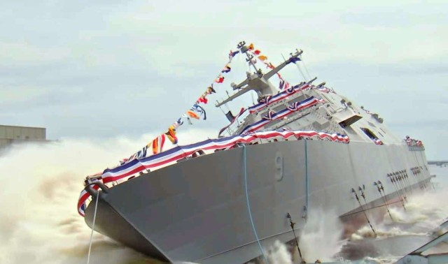 Littoral combat ship launched sideways