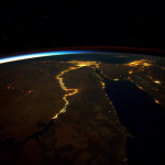 Nile River at night from ISS