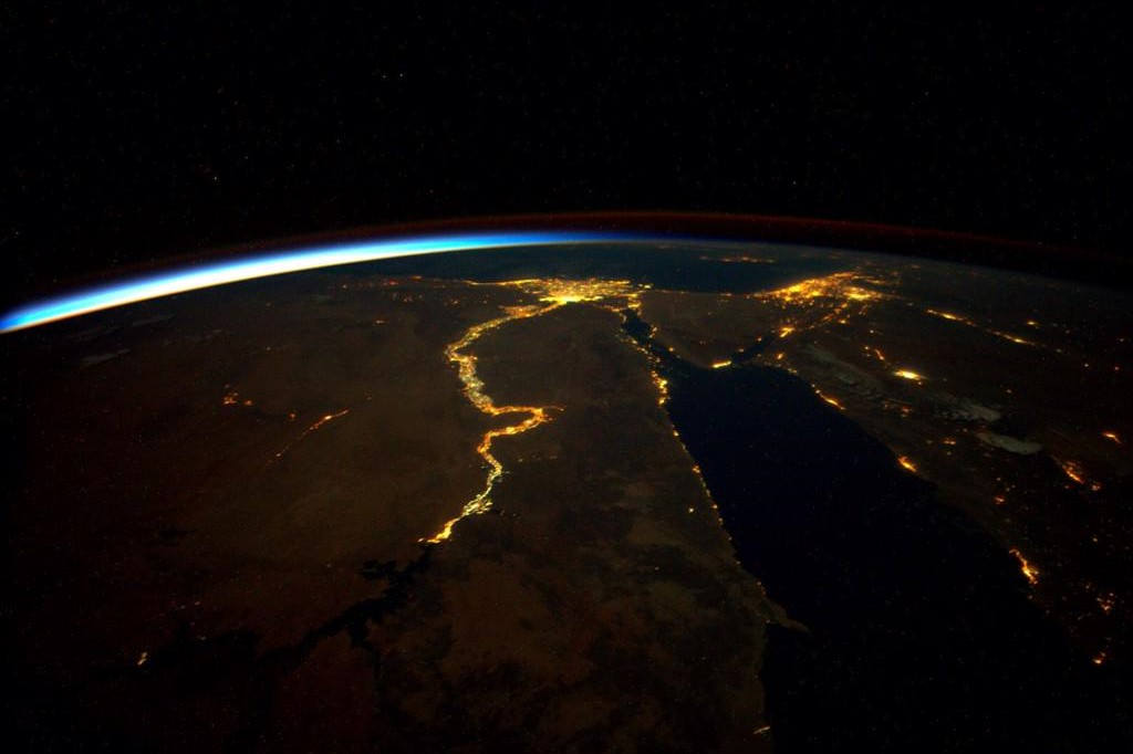 Wordlesstech Nile River At Night From Iss