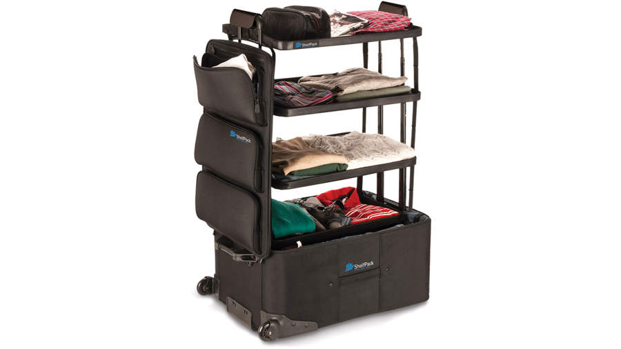 Suitcase transforms Into a compact Dresser