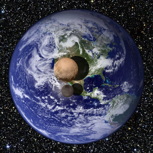 Pluto and Charon obtained by New Horizons, compared to Earth