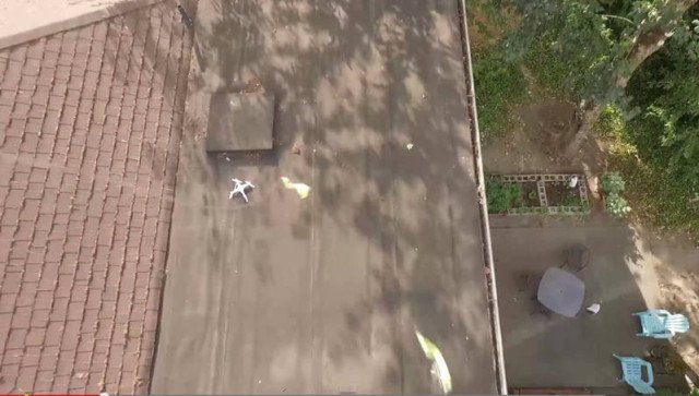 A crashed drone is rescued by another one