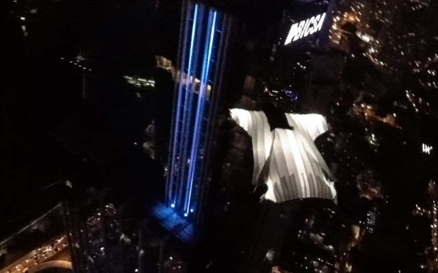 Wingsuit Flight at night