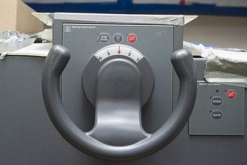 The steering wheel of the HMS Queen Elizabeth
