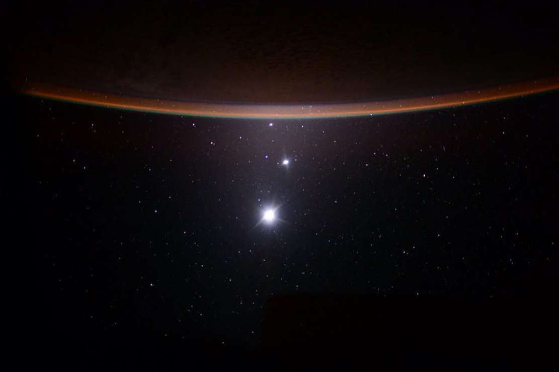 Earth, the Moon, Venus and Jupiter from ISS
