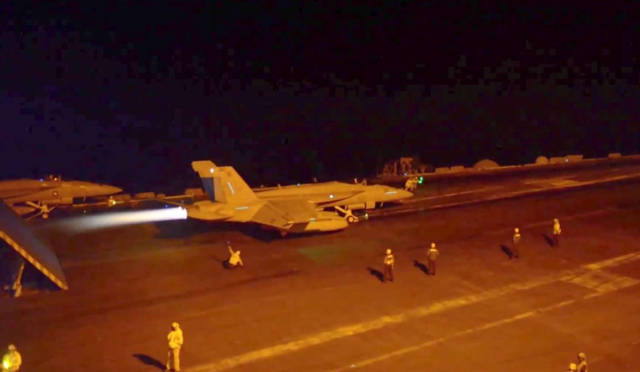 F-18 night launches from aircraft carrier