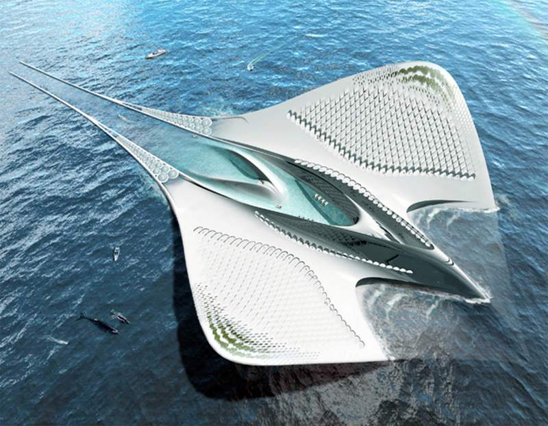 Floating city concept shaped like a manta (4)