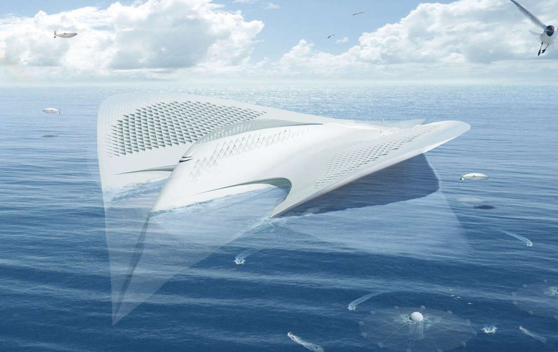 Floating city concept shaped like a manta (1)