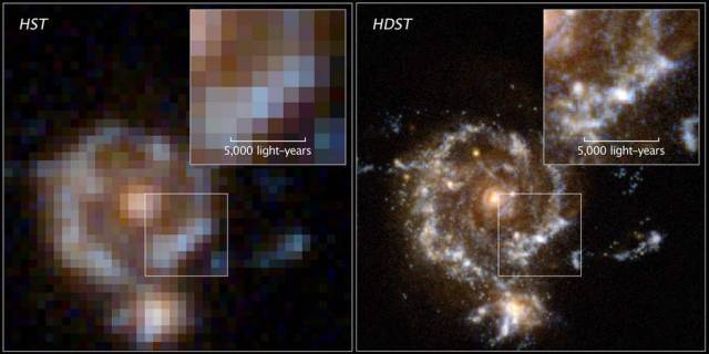 simulated spiral galaxy as viewed by Hubble and the proposed High Definition Space Telescop