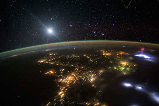 Moon and Orion from Space Station